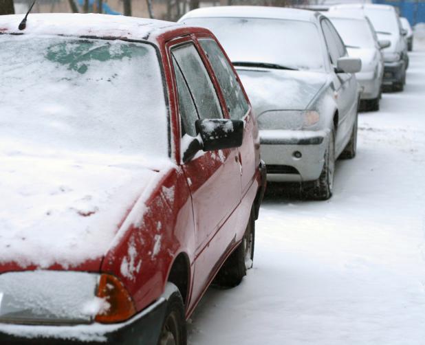 photo, stationnement hiver, neige, brossard