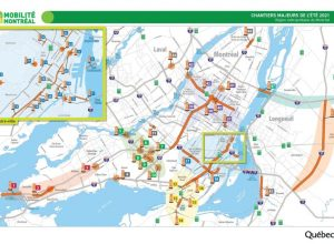 Carte routière des chantiers routiers de l'été 2021