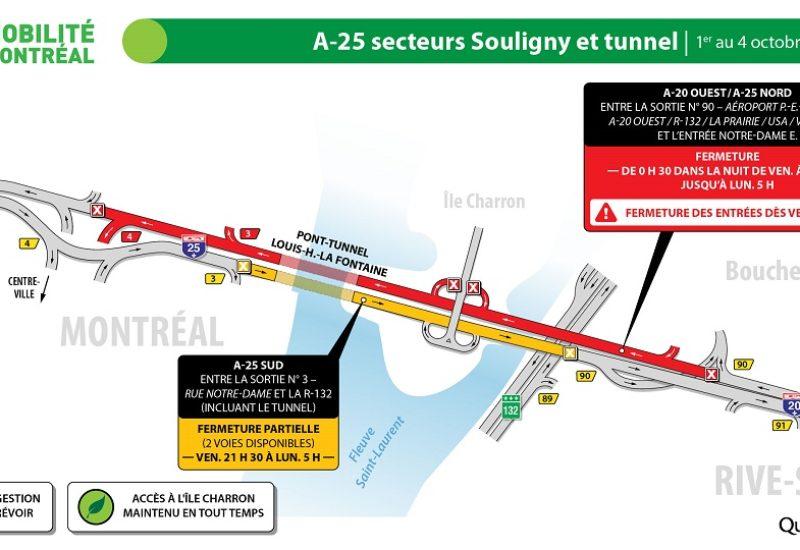 Le tunnel Louis-Hippolyte-La Fontaine fermé cette fin de semaine