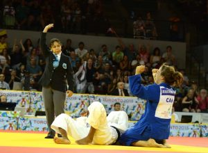 Catherine Beauchemin-Pinard competes in the judo competition at the Toronto 2015 Pan Am games.  Beauchemin-Pinard won a silver medal.  Jay Tse/COC
