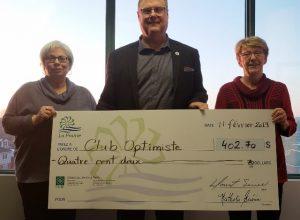 Le maire de La Prairie remet un chèque aux Optimistes