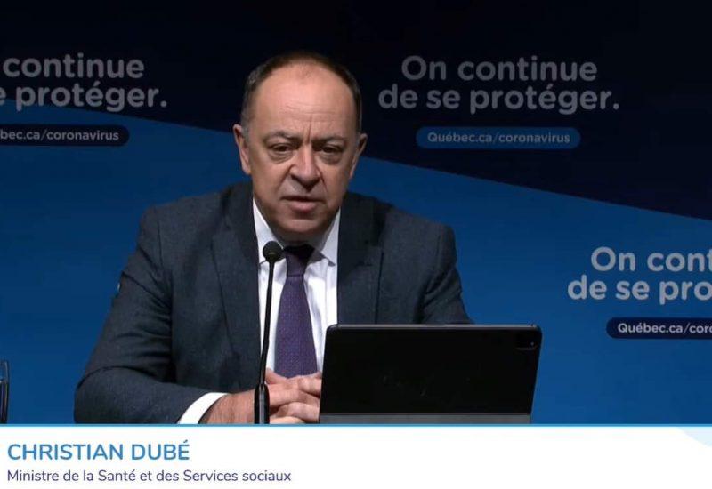 Christian Dubé, ministre de la Santé et député de La Prairie. Source: Conférence de presse du mercredi, 7 avril 2021.