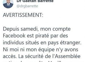 Gaétan Barrette : piratage de ses pages Twitter et Facebook