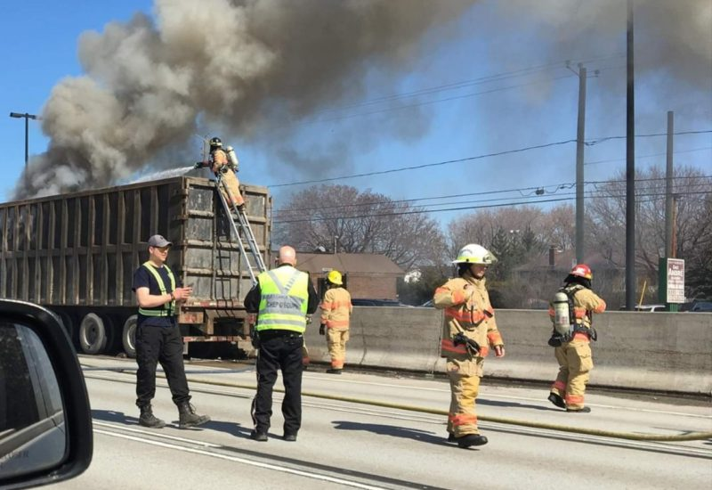 Une remorque a pris feu sur la route 132