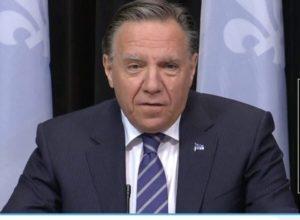 François Legault en conférence de presse annonçant le déconfinement