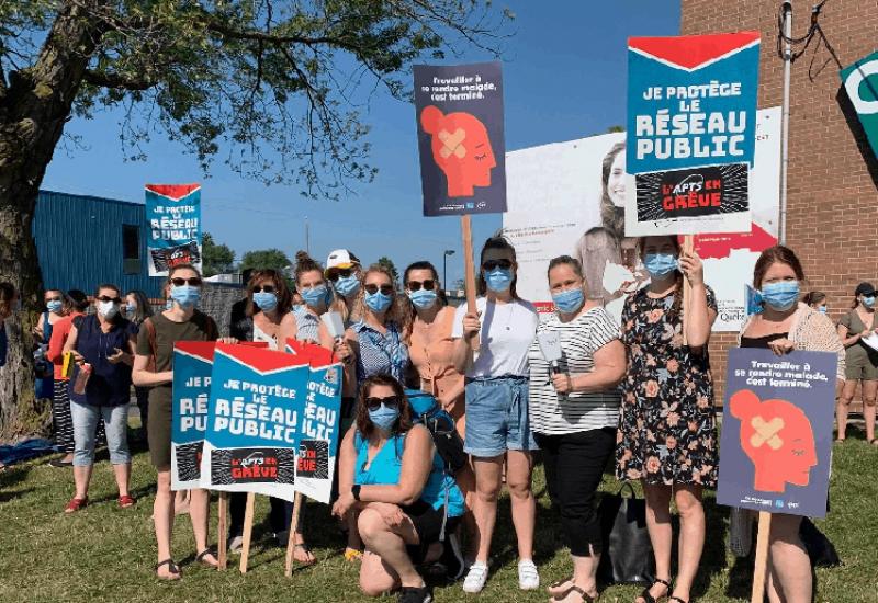 Le personnel en santé a participé à quatre jours de grève en juin. Photo : Archives