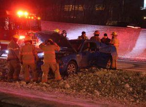 Le service de police de l'agglomération de Longueuil (SPAL) reconstitue un accident pour sensibiliser les jeunes.
