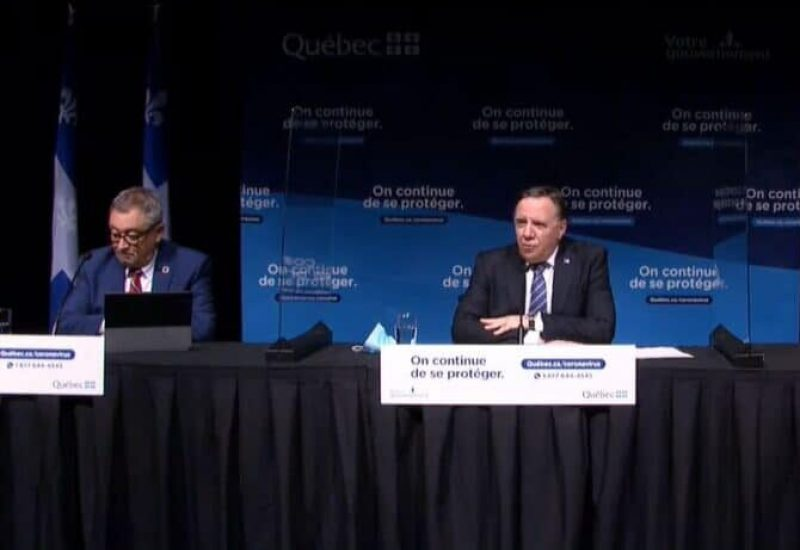 Horacio Arruda, François Legault et Christian Dubé en conférence de presse