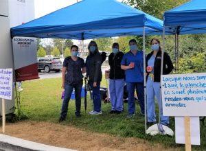 Le personnel en imagerie médicale s'est mobilisé mercredi, pour réclamer une plus grande reconnaissance de Québec. Photo : Archives Facebook APTS